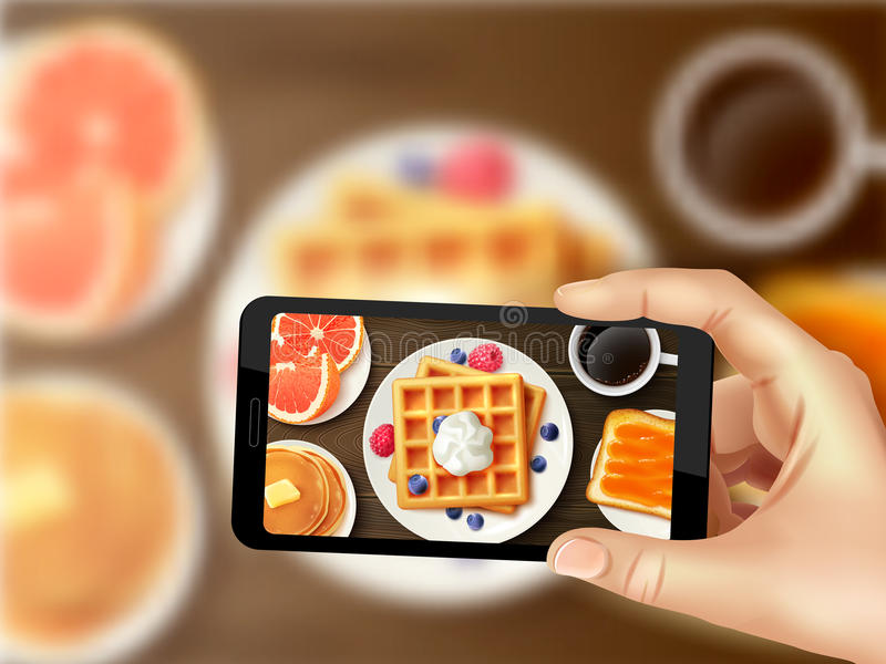 Breakfast Smartphone Photo Realistic Top Image. Sweet healthy breakfast with waffles berries orange and coffee top view smartphone photo sharing realistic vector stock illustration