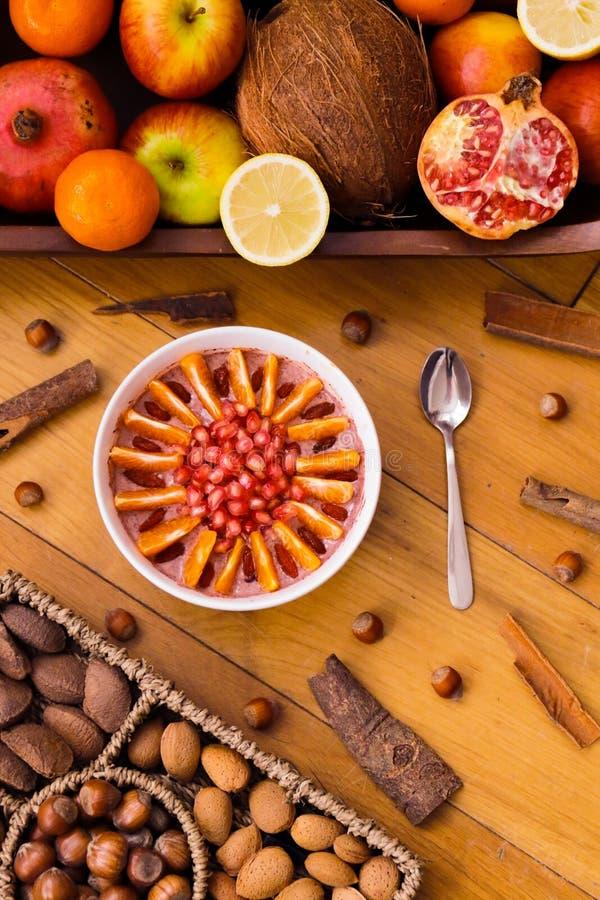Delicious acai berry smoothie bowl. stock photography