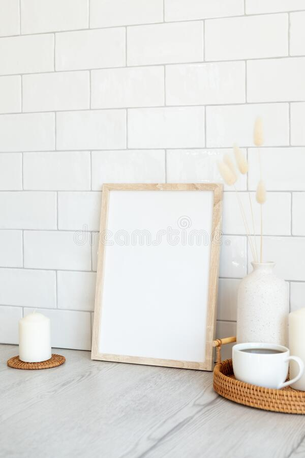 Free Breakfast Still Life. Picture Frame Mockup, Tray Of Hot Drink, Vase Of Dried Flowers, Candles. Brick Tiles Wall On Background. Stock Image - 215812701