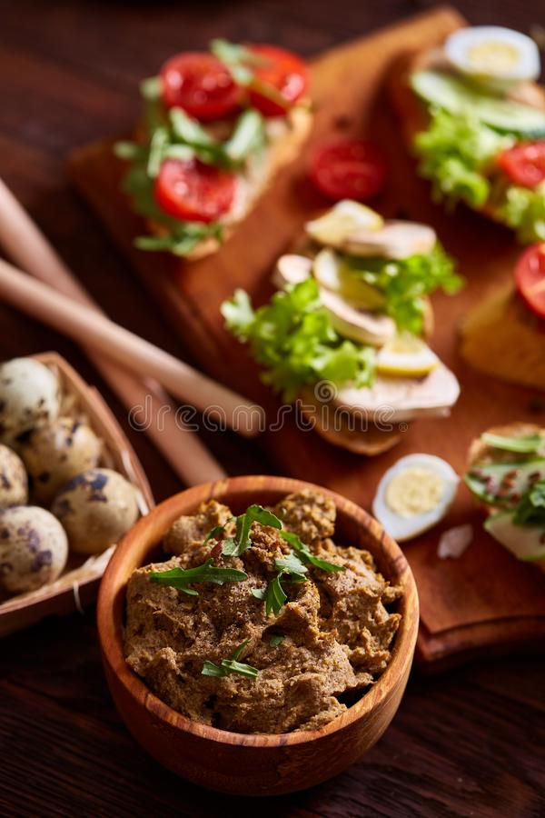 Breakfast still life with sandwiches, quail eggs, spicies and fresh fruits and vegetables, selective focus royalty free stock photography