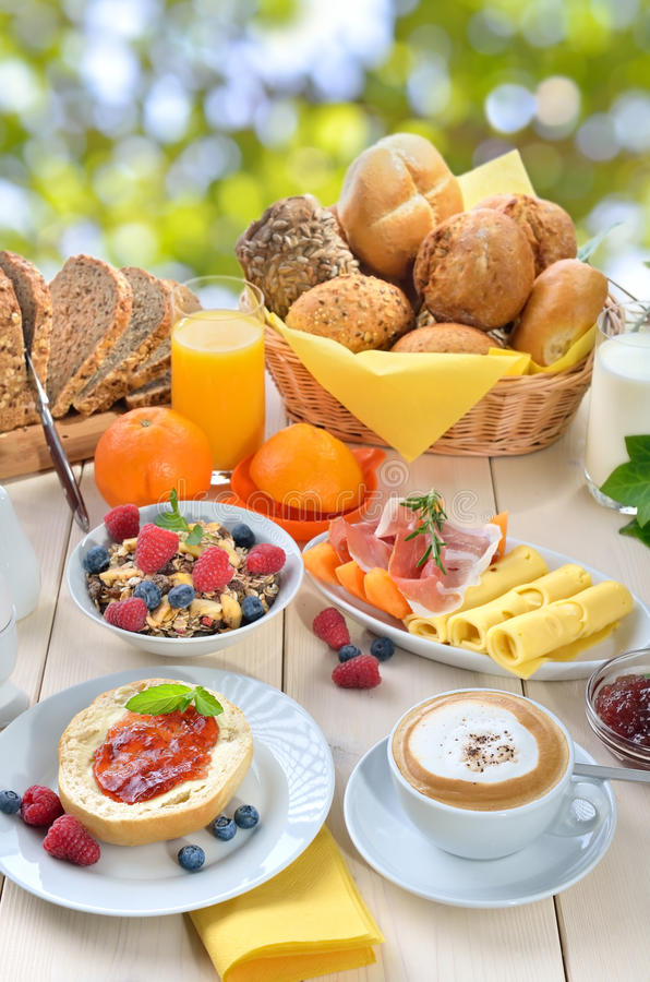 Breakfast in summer royalty free stock photos