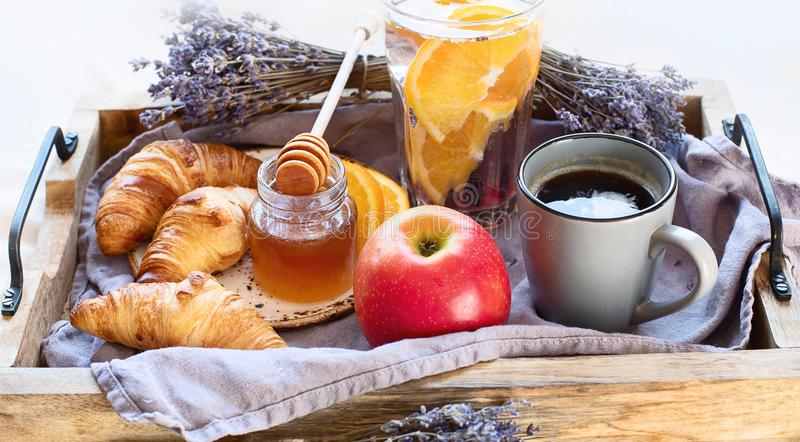 Breakfast table breakfast on table with coffe cup. Selective focus royalty free stock images