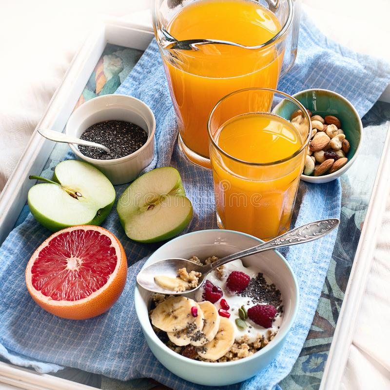 Breakfast table breakfast on table with coffe cup. royalty free stock images