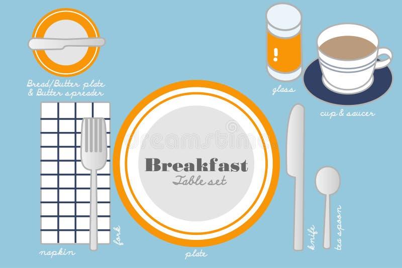 BREAKFAST TABLE SETTING stock vector. Illustration of plate - 54626646