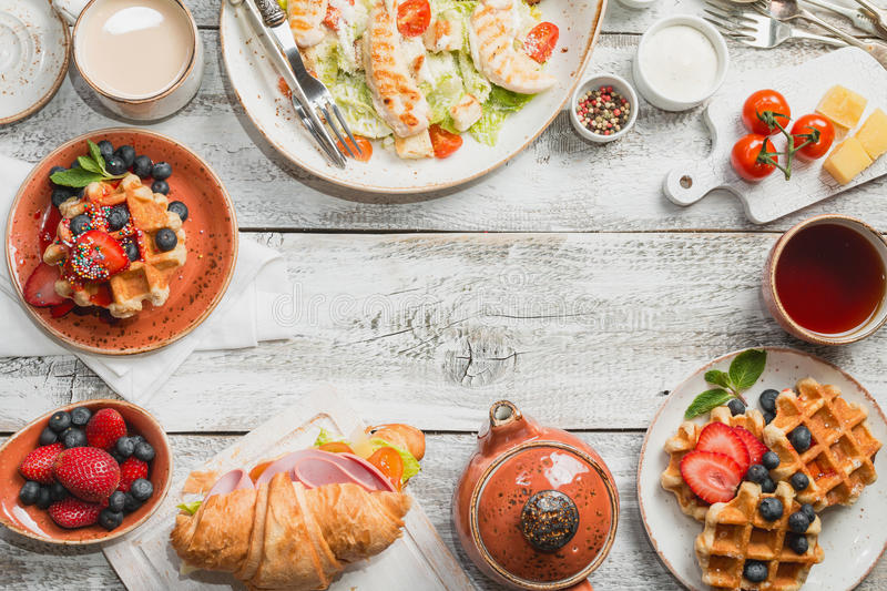 Breakfast table top view. stock images