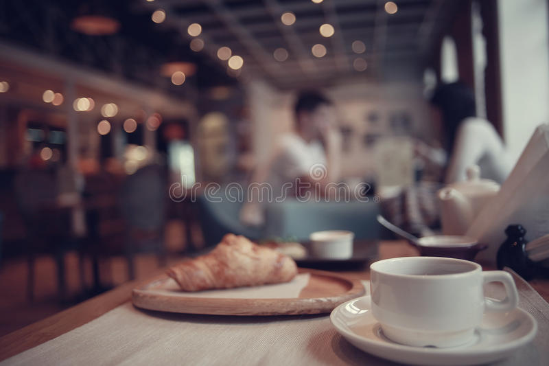Breakfast tea in a cafe stock images