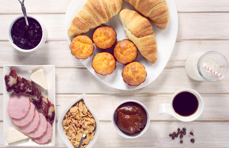 Breakfast time. Breakfast concept from above on the wooden table stock photography