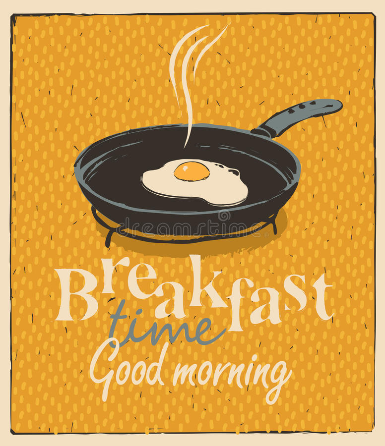 Breakfast time with a frying pan and fried eggs. Vector banner for breakfast time with a frying pan and fried eggs in retro style royalty free illustration