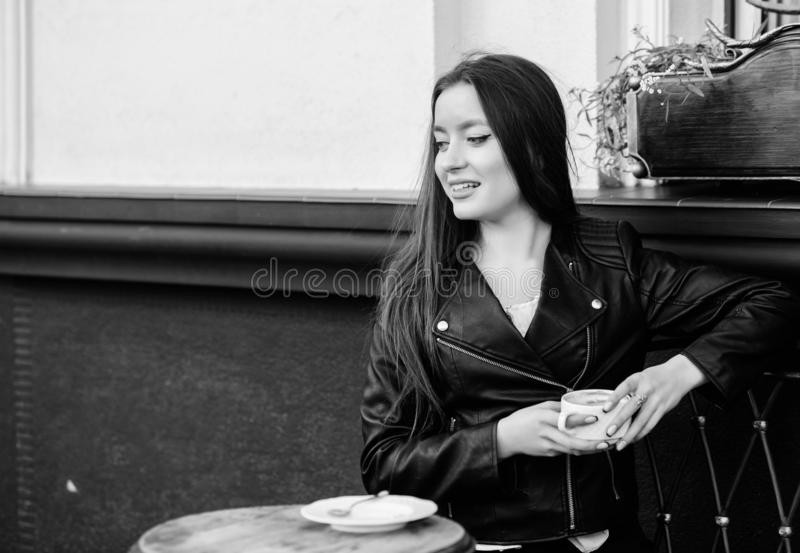 Breakfast time. girl relax in cafe. Business lunch. summer. Just relaxing. Meeting in cafe. happy girl. stylish woman in stock photos
