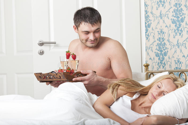 Download Breakfast to bed stock image. Image of indoors, couple - 24272881