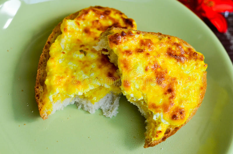 Breakfast. From toast, cheese and eggs royalty free stock photography