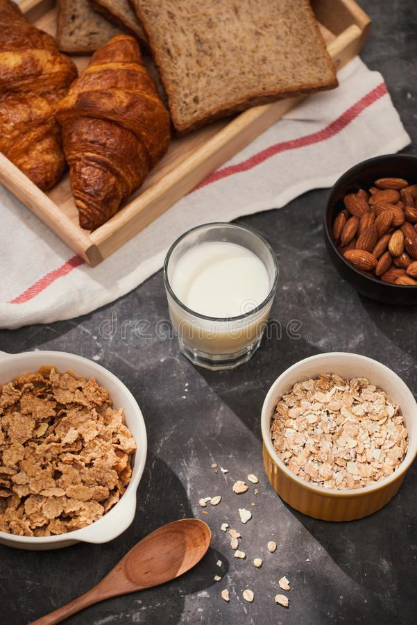Breakfast with toast and croissant. milk in a glass bottle. Good start to the day. Good morning.  stock photo