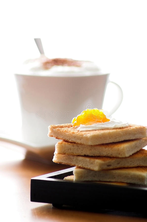 Breakfast Toast With Marmelade And Coffee Royalty Free Stock Photos