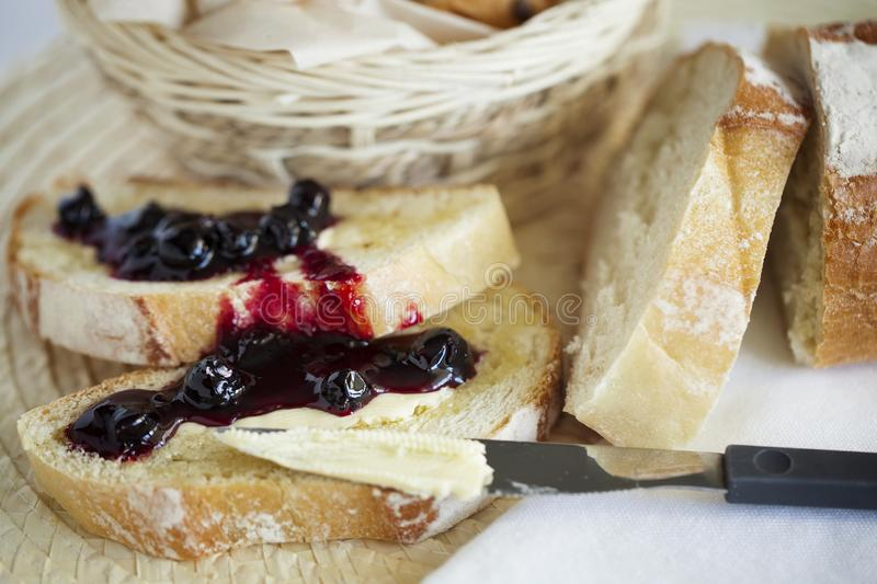 Homemade Breakfast toast with butter and jam. Healthy food. Closeup. royalty free stock photos