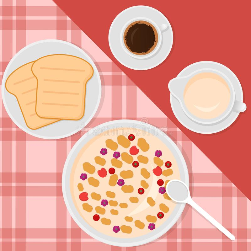 Breakfast top view vector illustration in flat style with muesli or oatmeal, milk, coffee and toasts. stock illustration