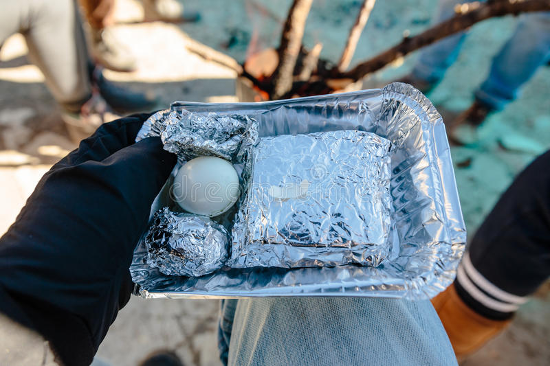 Breakfast for tourist in foiled pack included two boiled eggs and sandwitch in the background in winter in Zero Point at Lachung royalty free stock photos