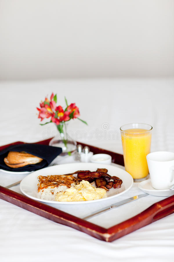 Breakfast on the tray stock images