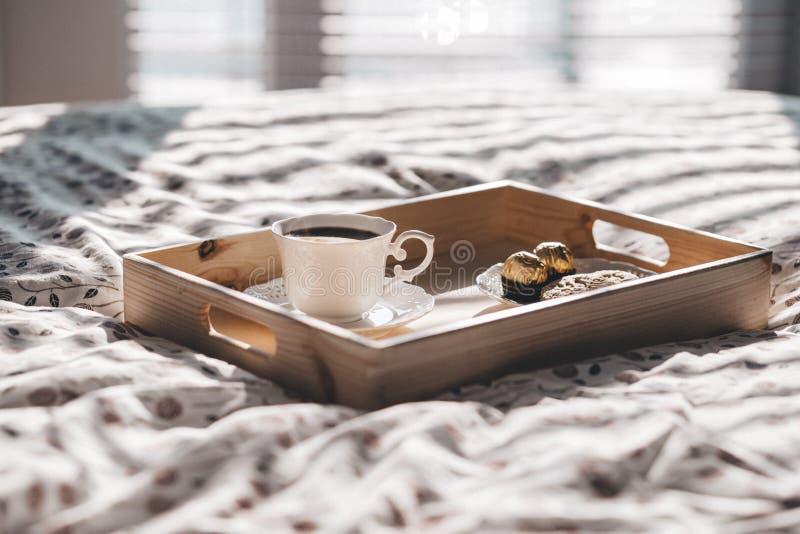 Breakfast tray in bed stock photos