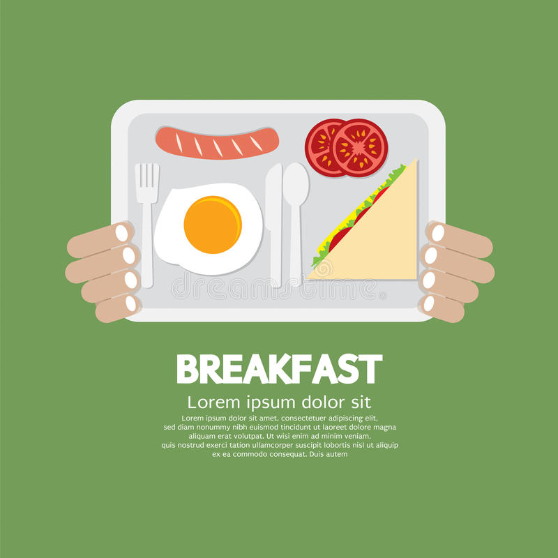 Breakfast Tray In Hand stock illustration