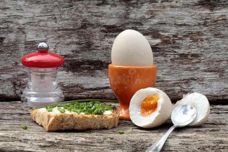 Breakfast with two eggs royalty free stock photos
