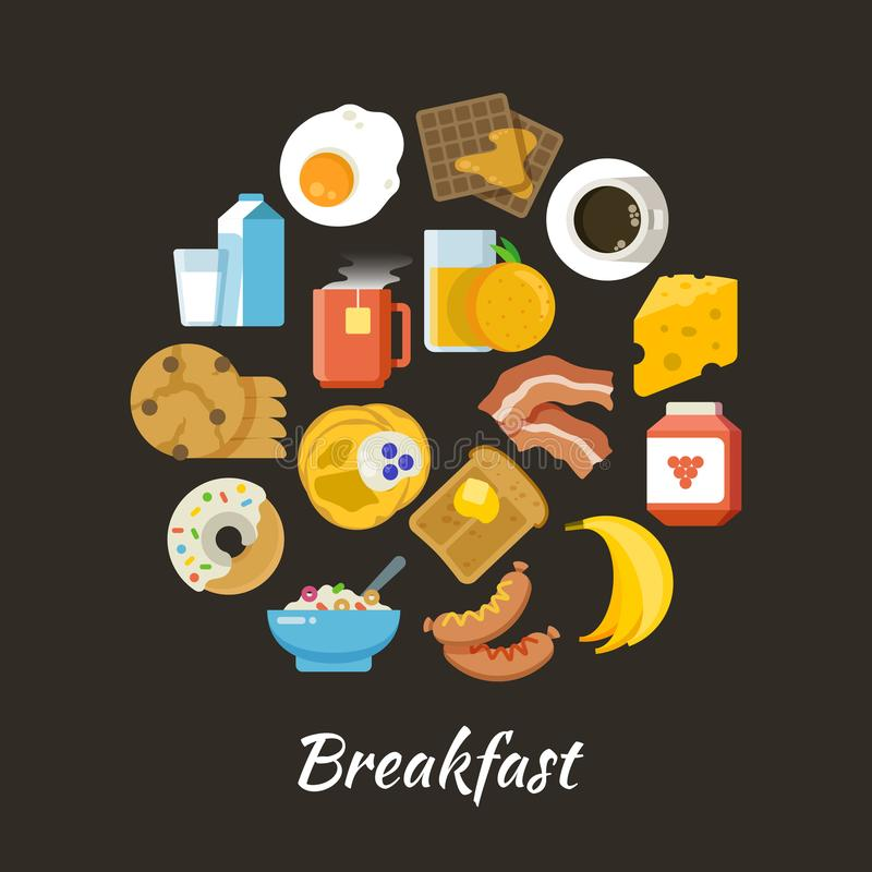 Breakfast vector concept. Fresh and healthy food flat iconce in circle design royalty free illustration