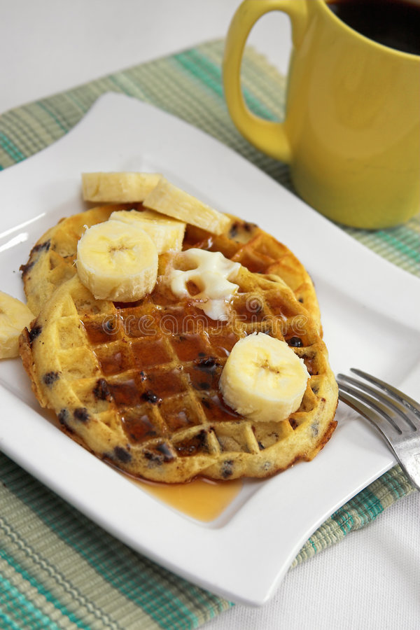 Breakfast waffles stock image