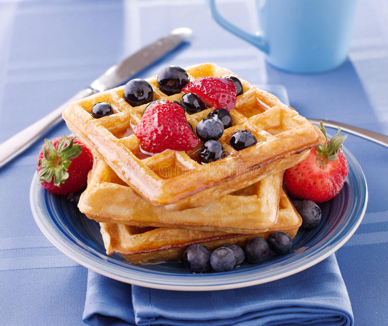 Breakfast : Waffles with berries stock photography