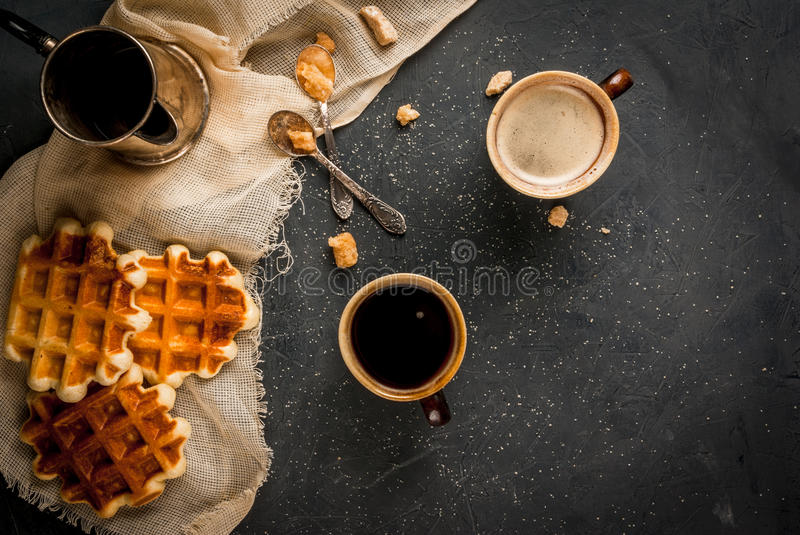 Breakfast with waffles and coffee stock images