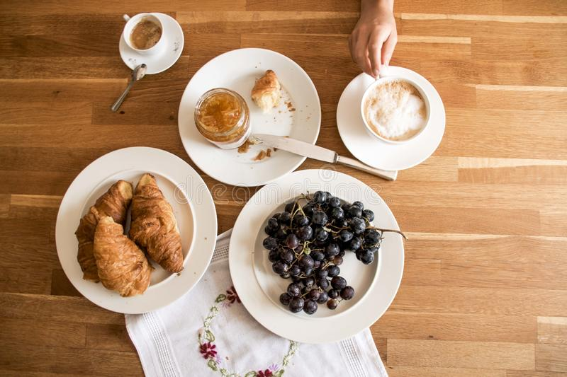 Breakfast on wooden table royalty free stock images