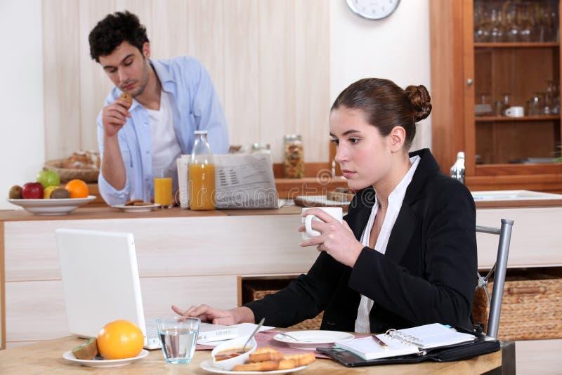 Download Breakfast before work stock photo. Image of laptop, spoon - 29068834