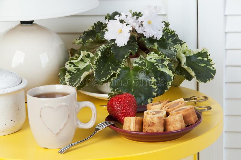 Breakfast on yellow table. On white door background stock images