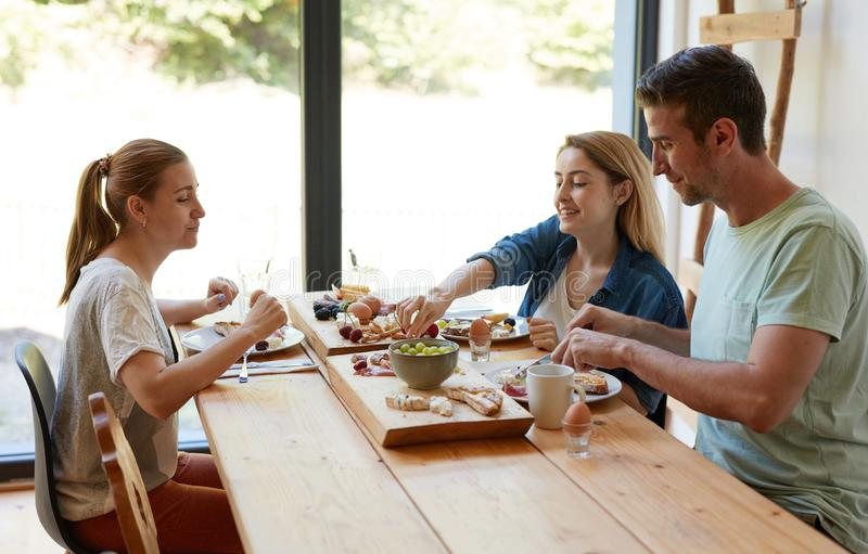 Breakfast with your best friends royalty free stock images