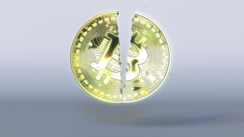 Breaking bitcoin token. Cryptocurrency crisis concept 3D rendering royalty free stock photos