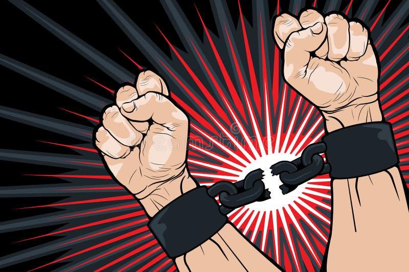 Breaking the bonds for freedom stock illustration