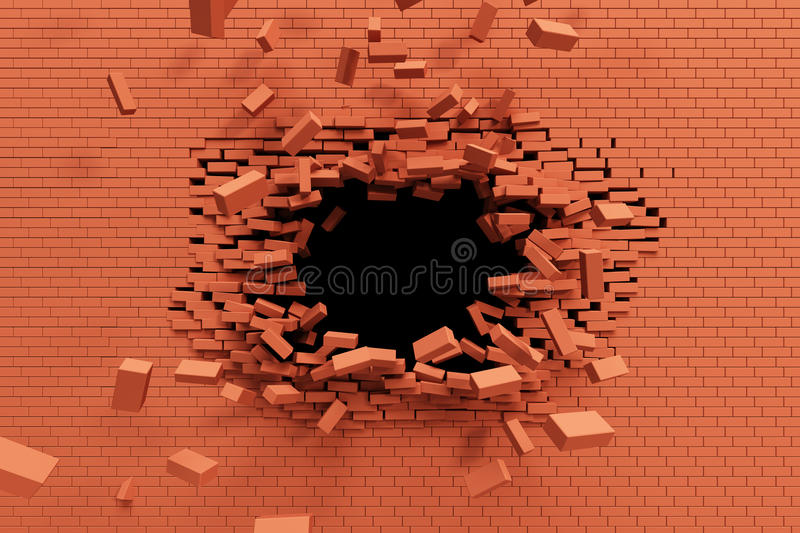 Breaking brick wall royalty free illustration