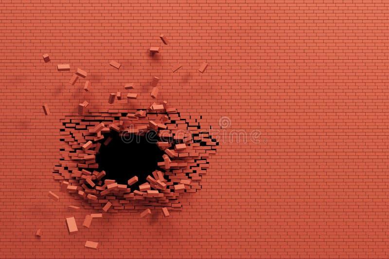 Breaking brick wall vector illustration