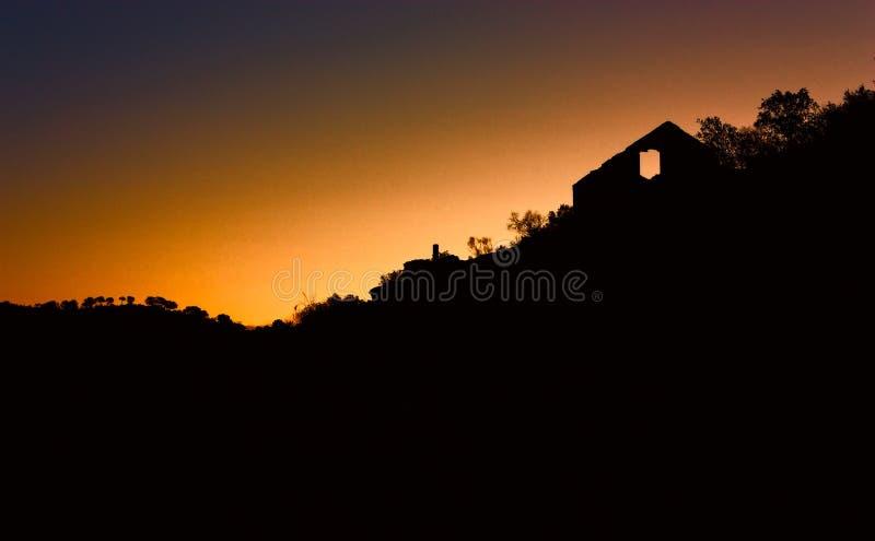Breaking dawn. In lake Rumblar (Jaén stock images