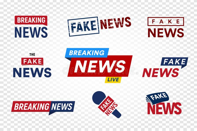 Breaking and fake news logo template on transparent background. Headline TV Stamp. World news vector illustration set. Breaking and fake news logo template on stock illustration