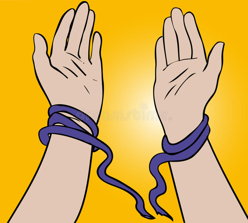Breaking free. Hands breaking free from tied ropes stock illustration