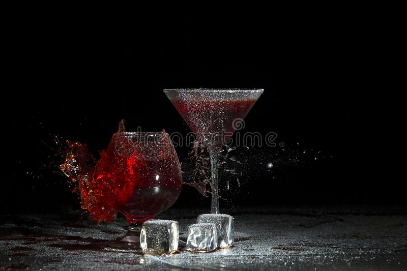 The breaking of a glass with fragments. stock image