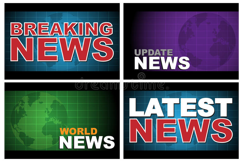 Breaking news. Four breaking news designs isolated on white background.EPS file available