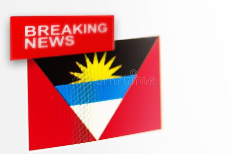 Breaking news-, Antigua och Barbudalands flagga och inskriftnyheterna arkivfoton