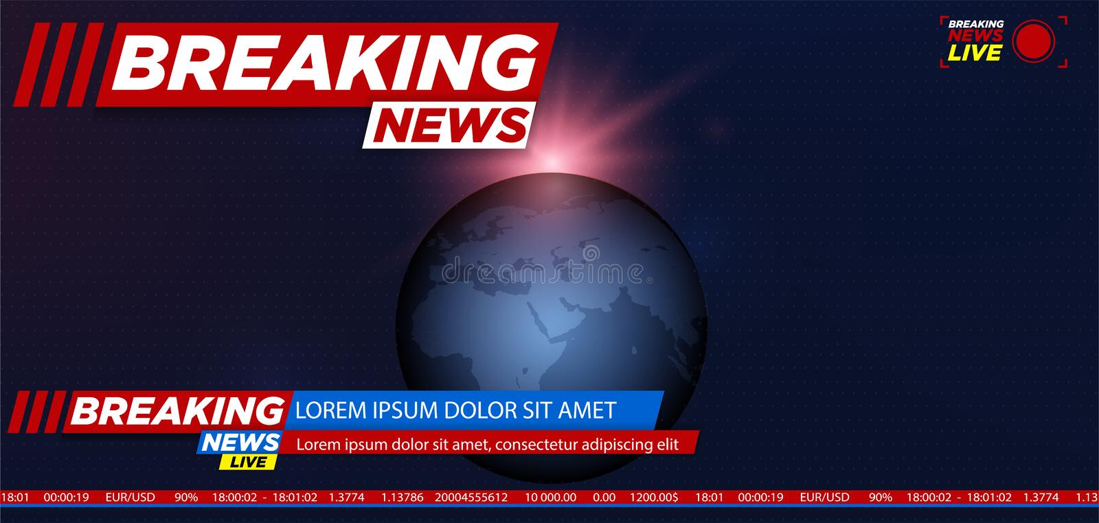 Breaking news background with planet vector illustration