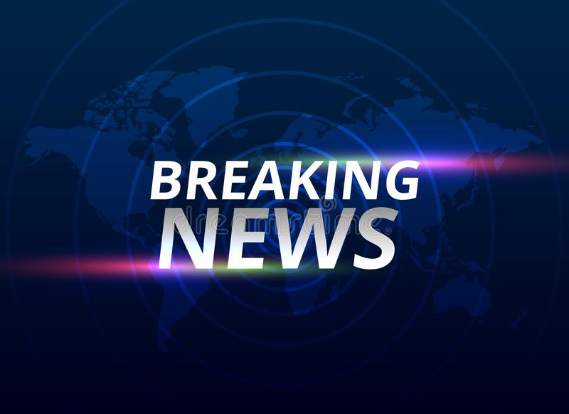 Breaking news banner background with world map royalty free illustration