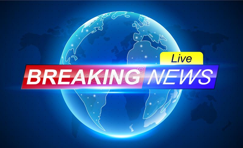 Breaking News banner header. Breaking news banner background with world map Ellipsis stock illustration