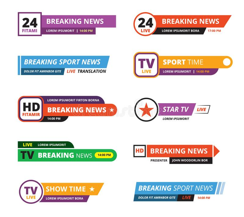 Breaking news banners television interface bar tv graphic. Breaking news banners. television interface bar tv graphic sport reporters names vector gui template royalty free illustration