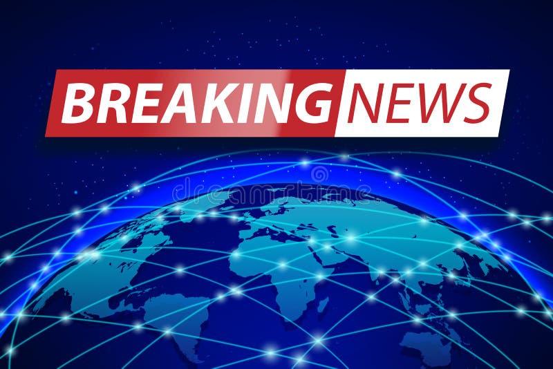 Breaking news bor på blå världskartabakgrund Design för baner för affärsteknologibegrepp Illustration för TVnyheternavektor stock illustrationer