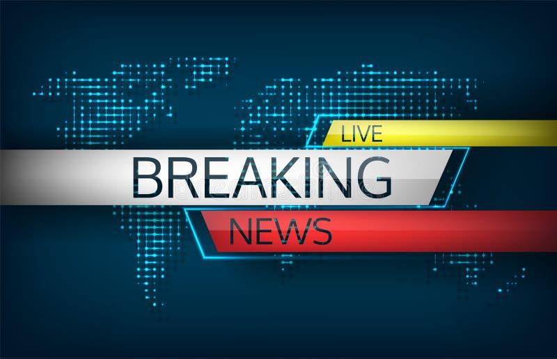 Breaking news bor på illustration för världskartabakgrundsvektor stock illustrationer