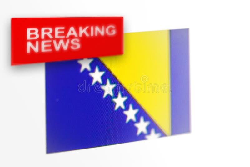 Breaking news-, Bosnien och Hercegovina lands flagga och inskriftnyheterna royaltyfria foton