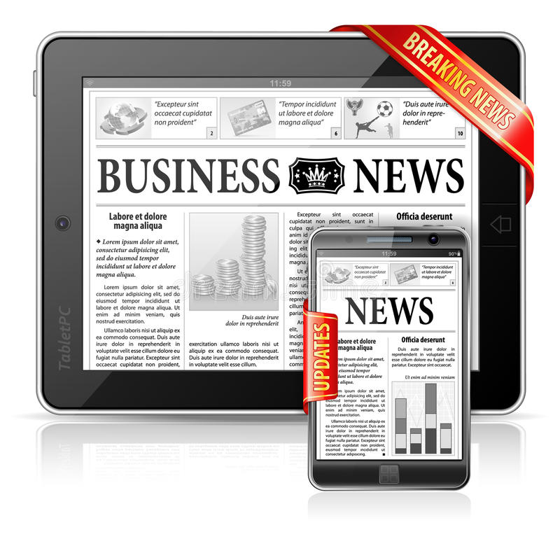 Breaking News Concept - Tablet PC, Smartphone stock illustration